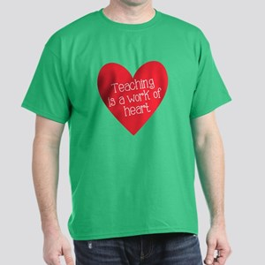 Red Teacher Heart Dark T-Shirt