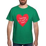 Red Teacher Heart Dark T-Shirt