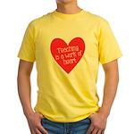Red Teacher Heart Yellow T-Shirt