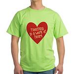 Red Teacher Heart Green T-Shirt