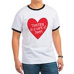 Red Teacher Heart Ringer T