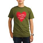 Red Teacher Heart Organic Men's T-Shirt (dark)
