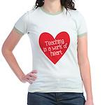 Red Teacher Heart Jr. Ringer T-Shirt