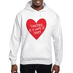Red Teacher Heart Hooded Sweatshirt