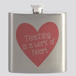 Red Teacher Heart Flask