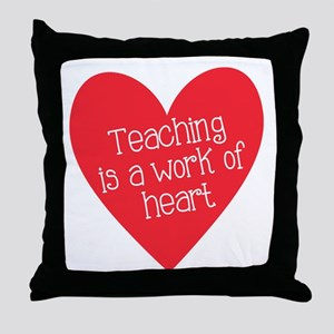 Red Teacher Heart Throw Pillow