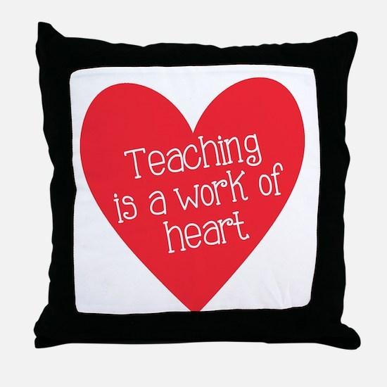 Red Teacher Heart Throw Pillow