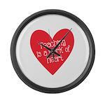 Red Teacher Heart Large Wall Clock