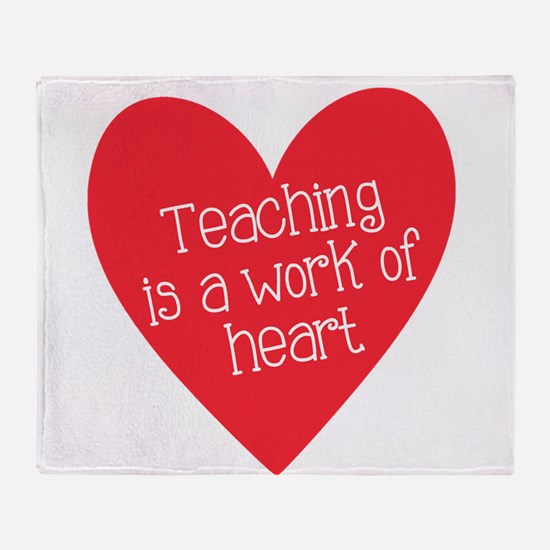 Red Teacher Heart Throw Blanket