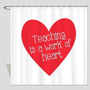 Red Teacher Heart Shower Curtain