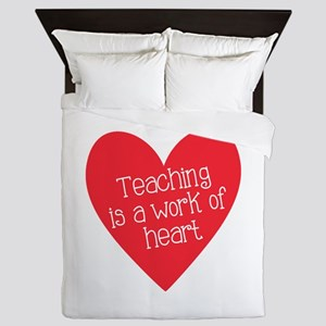 Red Teacher Heart Queen Duvet