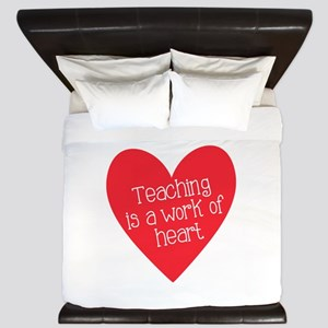 Red Teacher Heart King Duvet