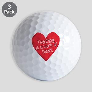 Red Teacher Heart Golf Balls