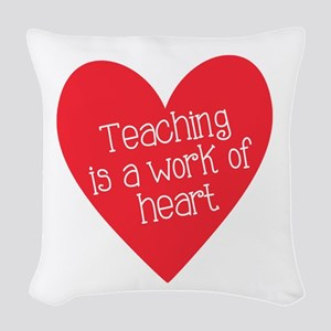 Red Teacher Heart Woven Throw Pillow