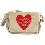 Red Teacher Heart Messenger Bag