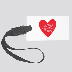 Red Teacher Heart Large Luggage Tag