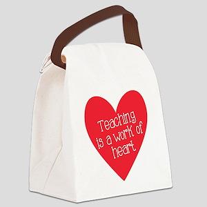 Red Teacher Heart Canvas Lunch Bag