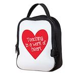 Red Teacher Heart Neoprene Lunch Bag