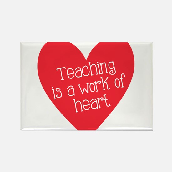 Red Teacher Heart Rectangle Magnet