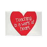 Red Teacher Heart Rectangle Magnet (10 pack)