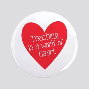 "Red Teacher Heart 3.5"" Button"