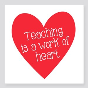 "Red Teacher Heart Square Car Magnet 3"" x 3"""