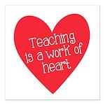 Red Teacher Heart Square Car Magnet 3