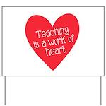 Red Teacher Heart Yard Sign