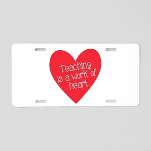 Red Teacher Heart Aluminum License Plate