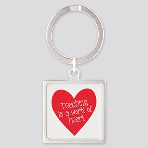 Red Teacher Heart Square Keychain