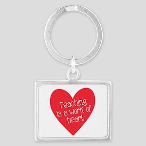Red Teacher Heart Landscape Keychain