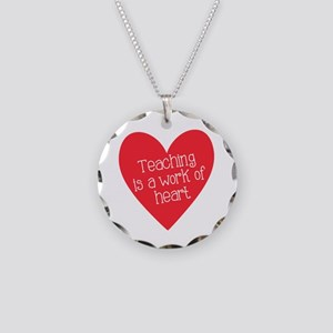 Red Teacher Heart Necklace Circle Charm