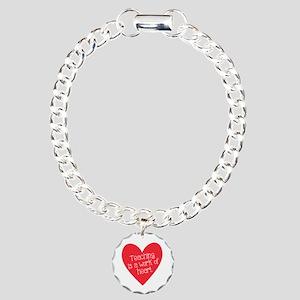 Red Teacher Heart Charm Bracelet, One Charm