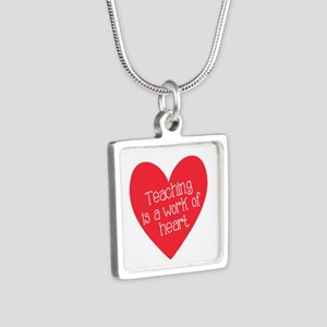 Red Teacher Heart Silver Square Necklace