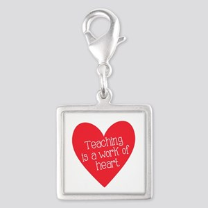 Red Teacher Heart Silver Square Charm