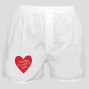 Red Teacher Heart Boxer Shorts