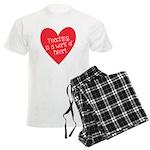Red Teacher Heart Men's Light Pajamas