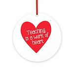 Red Teacher Heart Ornament (Round)
