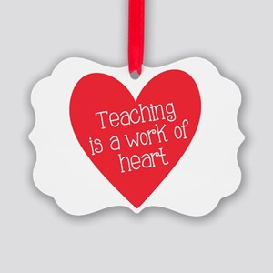 Red Teacher Heart Picture Ornament