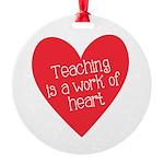 Red Teacher Heart Round Ornament