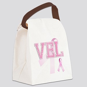 VEL initials, Pink Ribbon, Canvas Lunch Bag