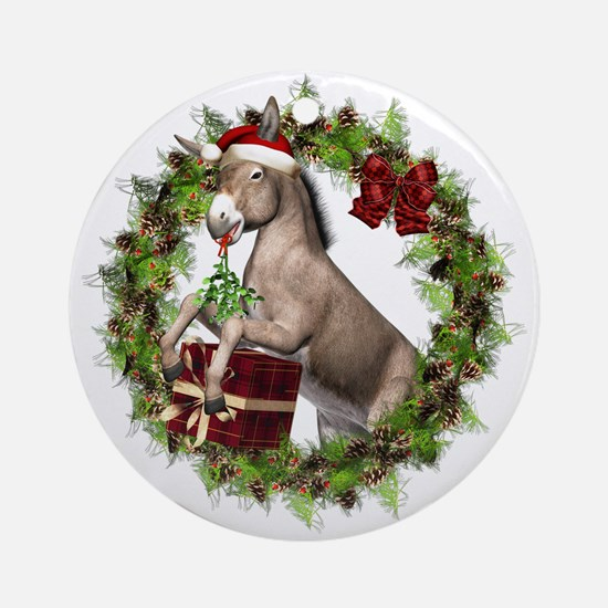 Donkey Santa Hat Inside Wreath Ornament (round)