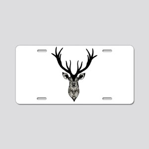 Classic Stag Deer Head Blac Aluminum License Plate
