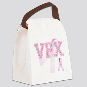 VFX initials, Pink Ribbon, Canvas Lunch Bag