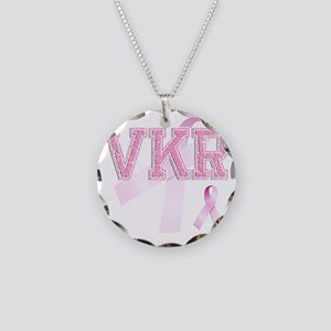 VKR initials, Pink Ribbon, Necklace Circle Charm