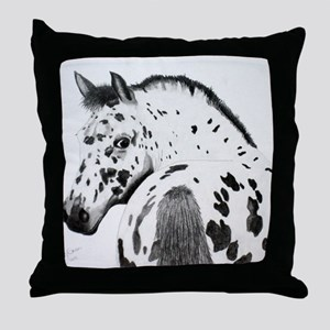 Leopard Appaloosa Colt pencil drawing Throw Pillow