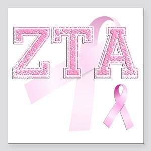 "ZTA initials, Pink Ribbo Square Car Magnet 3"" x 3"""