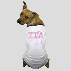 ZTA initials, Pink Ribbon, Dog T-Shirt
