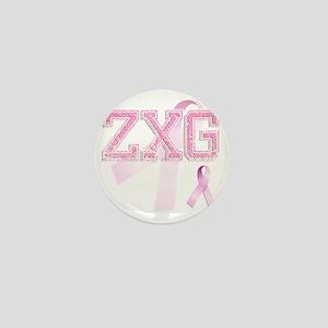 ZXG initials, Pink Ribbon, Mini Button