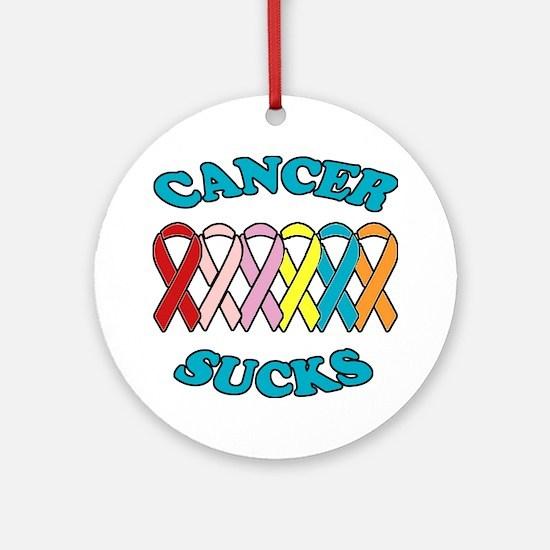 Cancer Sucks Blue Letters Ornament (Round)